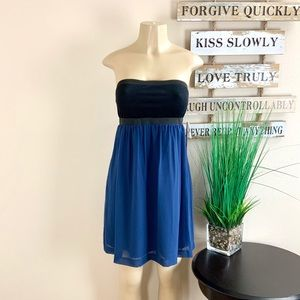 NWT. KENSIE | Strapless Blue And Black Dress